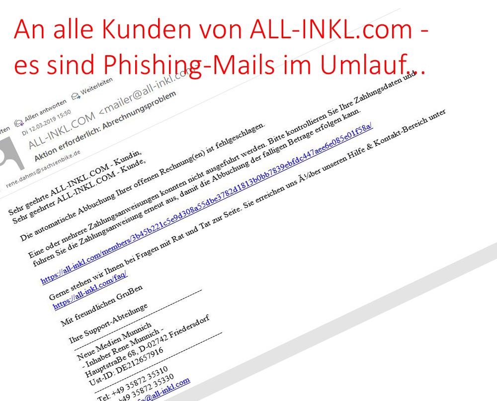 An alle Kunden von ALL-Inkl.com – es sind Phishing-Mails im Umlauf