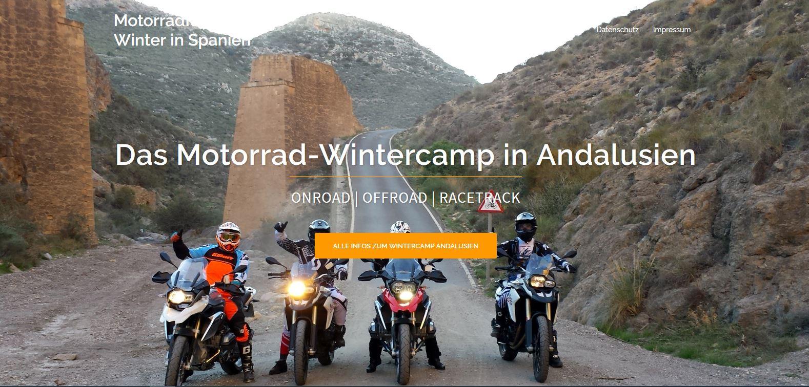 Die Website vom Motorrad-Wintercamp in Andalusien ist online