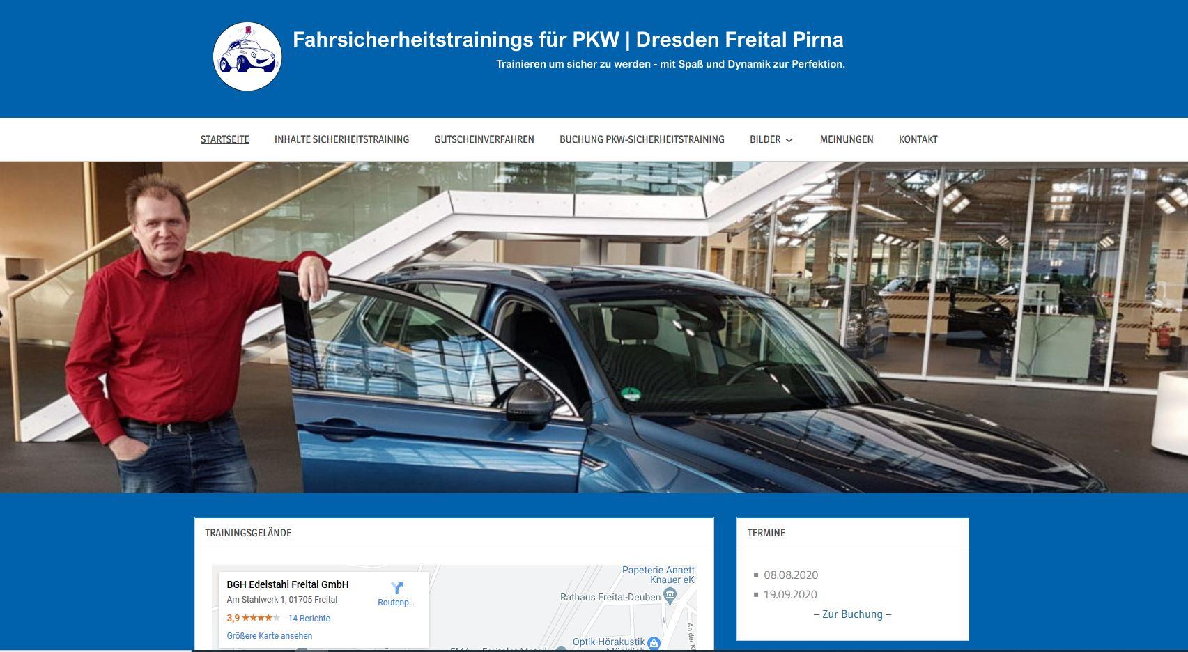 Die Homepage für Pkw-Sicherheitstrainings in Dresden, Freital und Pirna ist online