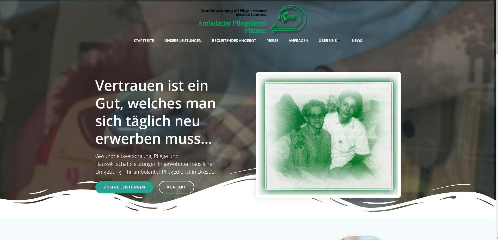 Internetprojekt – Pflegedienst Fütterer aus Dresden – ist nun auch abgeschlossen